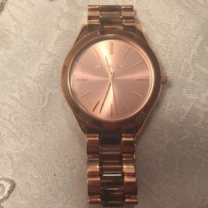 Micheal Kors Rose Gold and brown Watch